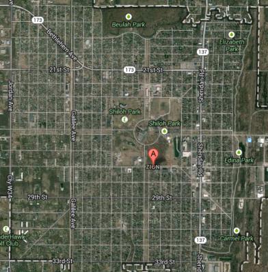 Satellite view of Zion, Illinois. Credit: Google Maps Satellite View